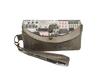 Grand portefeuille femme, faux cuir gris, suédine taupe, tissu avec immeubles et maisons