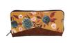 Grand portefeuille zippé en liège marron et tissu jaune ocre fleuri