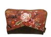 Portefeuille femme fermeture zippée, en faux cuir kaki et tissu rouille fleuri