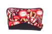 Portefeuille zippé en faux  cuir aubergine et  tissu prune fleuri