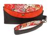 Grand portefeuille pochette en faux cuir anthracite,suédine orange, tissu gris avec des fleurs