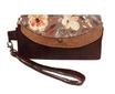 Grand portefeuille femme,  similicuir marron, camel, tissu fleurs romantiques, porte-chéquier , dragonne amovible