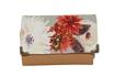 Portefeuille compact femme, cuir beige caramel clair, tissu  gris,  fleurs automnales  sauvages