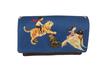 Portefeuille compact pour femme en tissu bleu marine avec des enfants et  des  animaux,  faux-cuir marron,