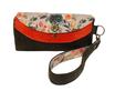 Grand portefeuille femme, pochette,  suédine orange, faux-cuir kaki,  tissu fleurs sauvages
