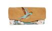Grand portefeuille  brodé femme, toile turquoise, similicuir beige ,broderie colibri oiseau
