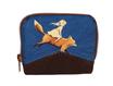Mini portefeuille zippé pour femme en tissu bleu marine avec des enfants et  des  animaux,  faux-cuir marron