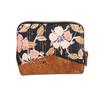 Mini portefeuille zippé pour femme en tissu noir avec des fleurs roses, liège marron avec éclat cuivré