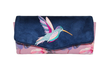 Grand portefeuille  brodé femme, tissu mauve avec des hibiscus, suédine bleu , broderie colibri oiseau