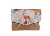 Porte-monnaie femme  accordéon tissu gris animaux de la forêt suédine beige