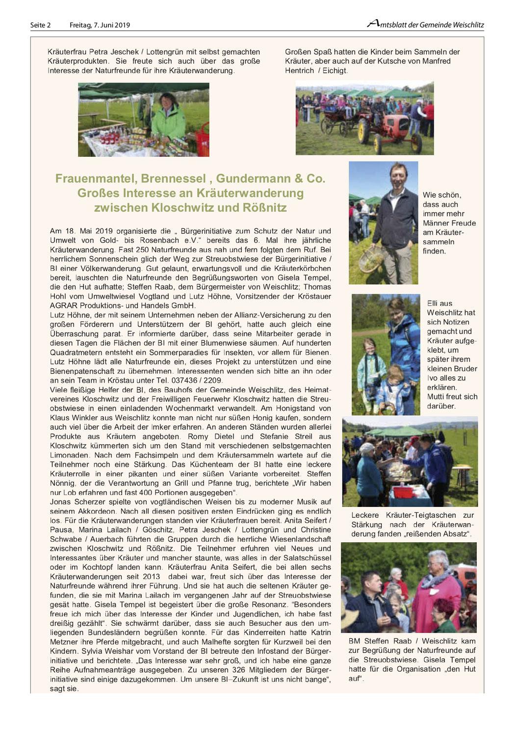 Amtsblatt Gemeinde Weischlitz 07.06.2019