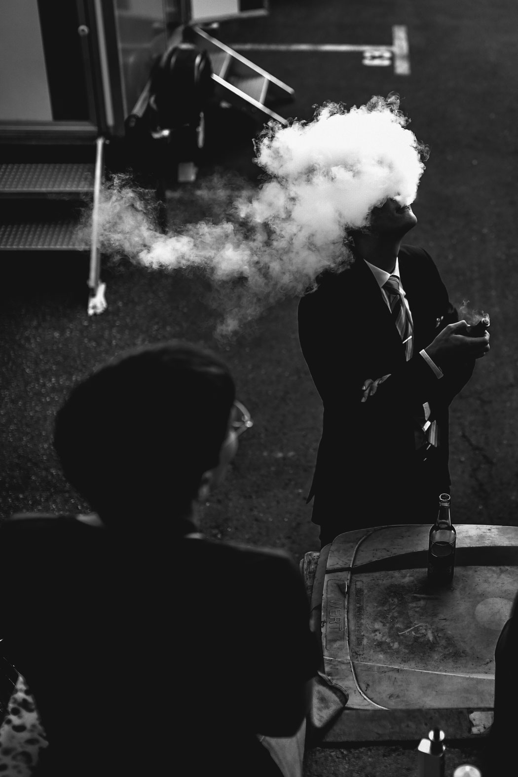 man in the smoke - hamburg Germany