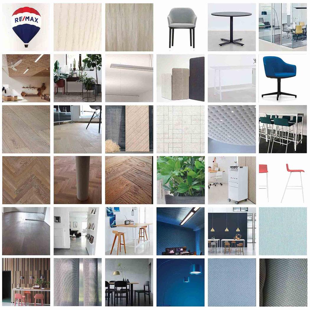 Raumgestaltungsvorschlag Remax Winterthur Moodboard mi 6X6 Bilder