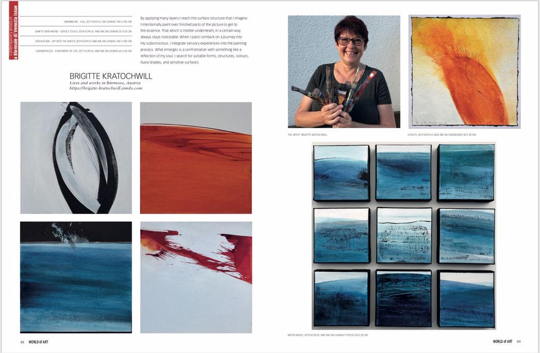 """Doppelseite aus der Zeitschrift """"World of Art"""" zur Biennale Venedig 2019"""