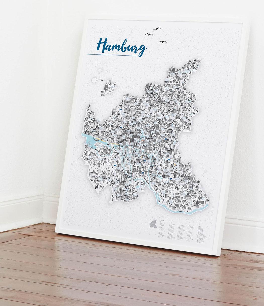 großes illustriertes Hamburg Poster