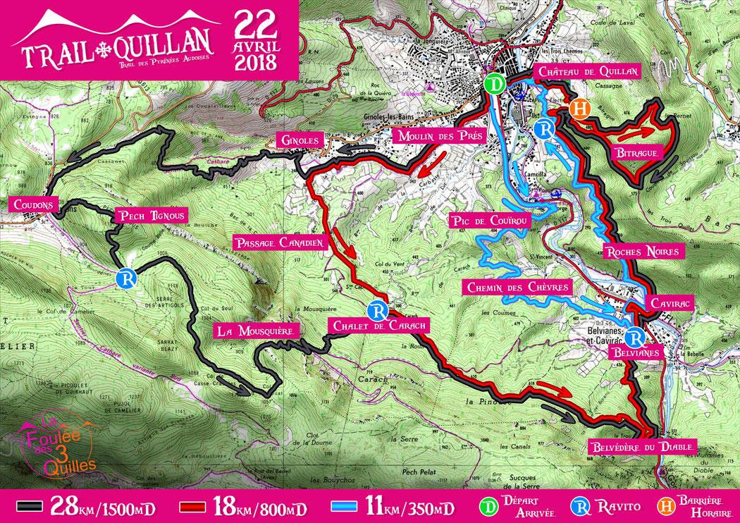 Plan des parcours 2018 - Trail Quillan