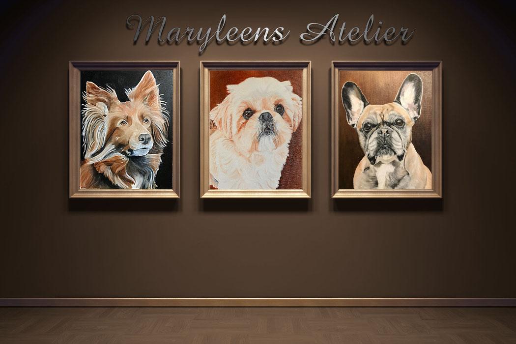 Schilderijen gemaakt door maryleens atelier, huisdieren schilderij laten maken.