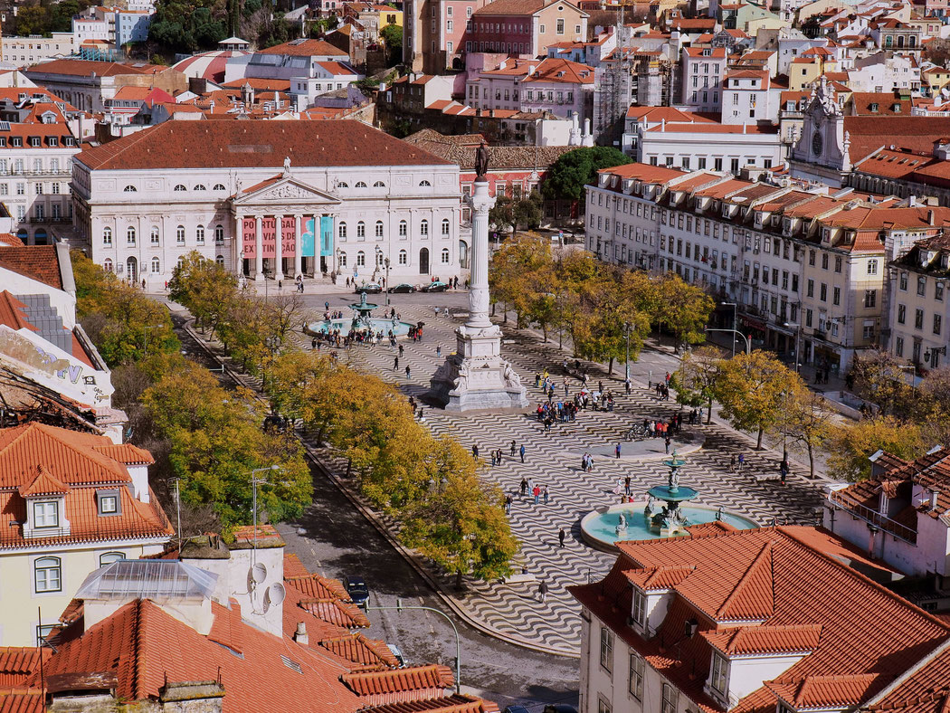 View of the hypnotizing floor pattern of Praça do Rossio from the Elevador de Santa Justa