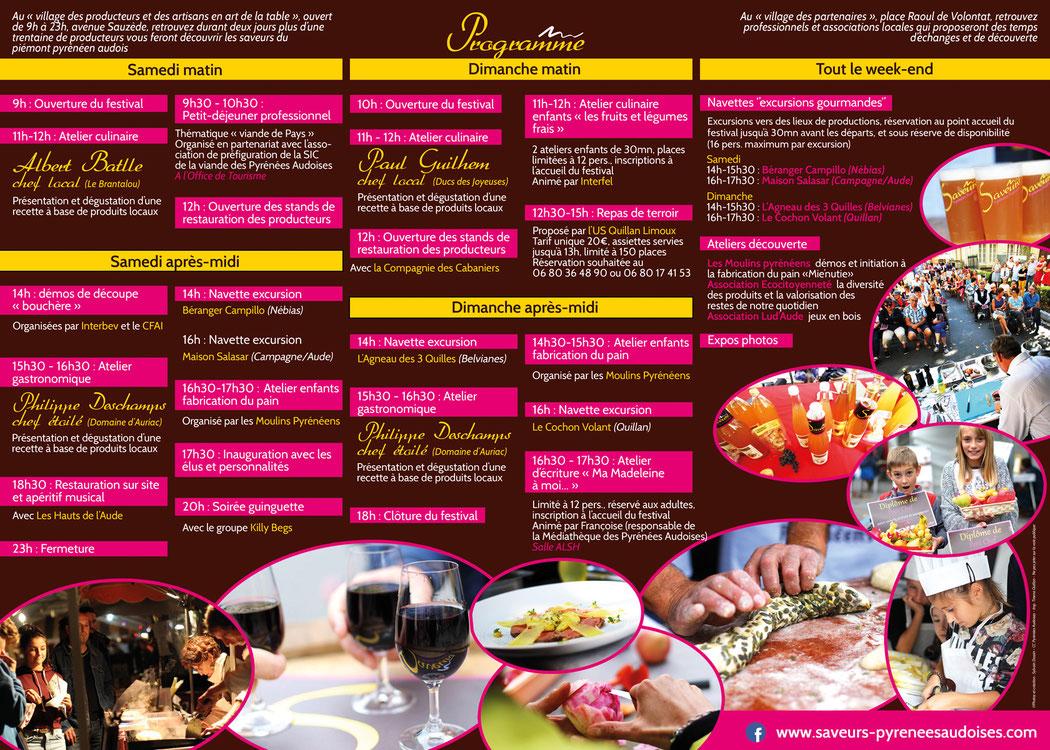 Programme du Festival des Saveurs Pyrénées Audoises 2018 - Quillan