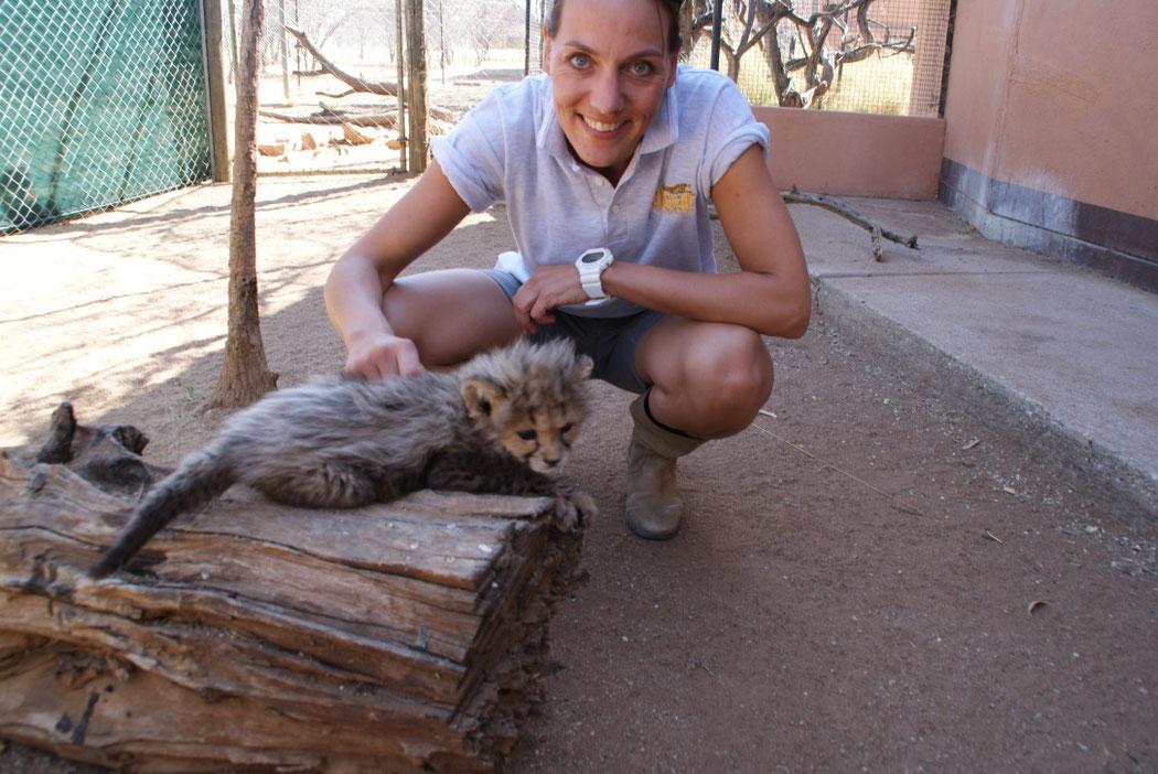 Herzig 2010, während ihrem vierwöchigem Aufenthalt als Volunteer bei der Organisation cheetah.org .