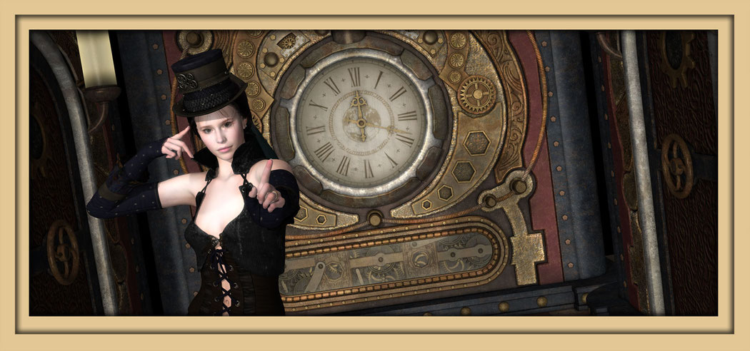 Digitale Kunst aus dem Bereich Steampunk des Aachener Künstlers Marcus Löhrer auf der Ausstellung Spektrum 2016 in der Aula Carolina und während der aachener Kunstroute 2016 in der Galerie Frutti dell'Art, Station 16