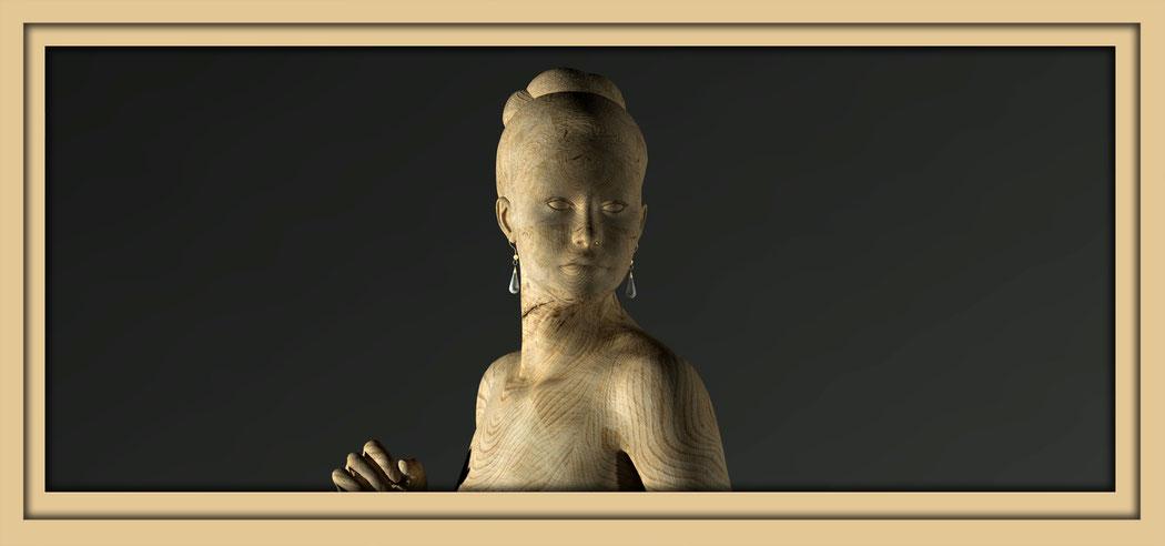 Eine digitale Skulptur mit Holztextur. Digitaler Wandel in der Kunst, Galerie Frutti dell'Arte während der Aachener Kunstroute 2016. Hier ist die digitale Zukunft schon heute und nicht erst in Aachen 2025