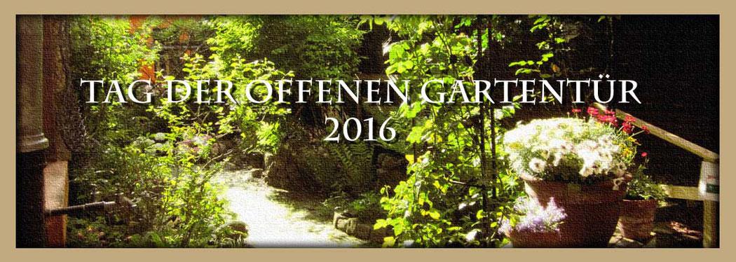 Garten der Galerie Frutti dell'Arte. Die Galerie zeigt internationale Kunst und Kunst in Aachen. Sie ist verteten auf der Aachener Kunstroute 2016 mit einer Ausstellung in der Galerie und in der Aula Carolina in Aachen.