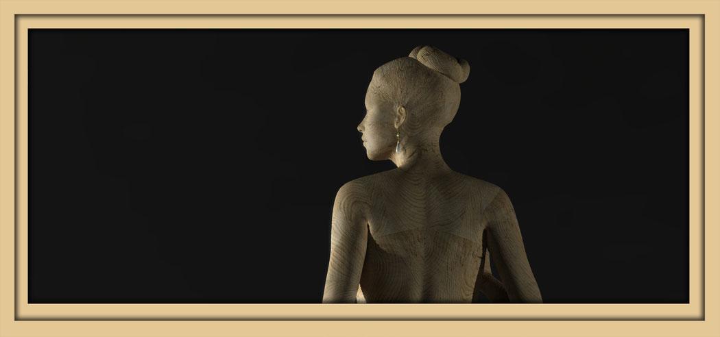 Bilder einer digitalen Holzskulptur des Aachener Künstlers Marcus Löhrer auf der Aachener Kunstroute 2016