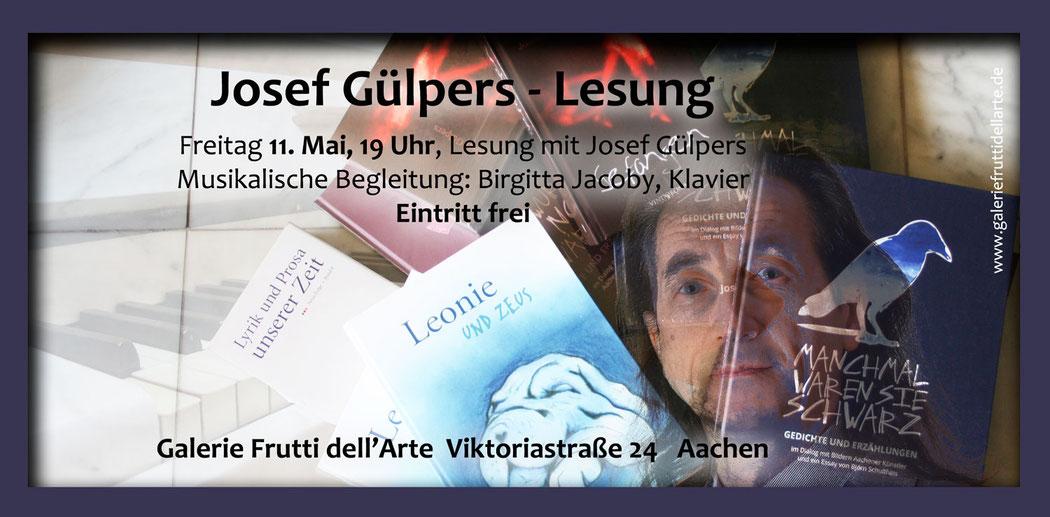 Fleyer der Lesung mit Musik von Josef Gülpers und Birgitta Jacoby in der Galerie Frutti dell'Art, Viktoriastrasse 24 in Aachen