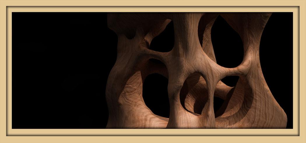 Bild einer digitalen Holzskulptur die gezeigt wird auf der Aachener Kunstroute 2016 am 23., 24. und 25. September und der Ausstellung Spektrum 2016 in der Aula Carolina in der Pontstrasse.