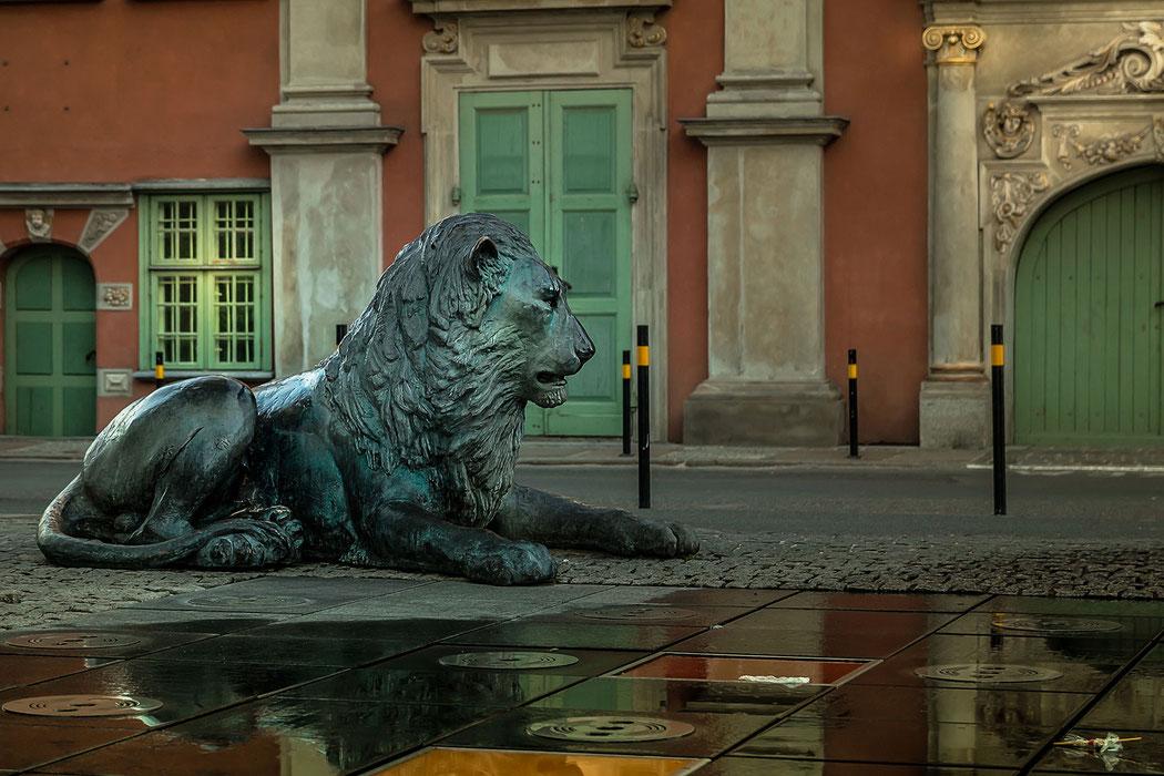 Löwenskulptur in der Altstadt von Danzig
