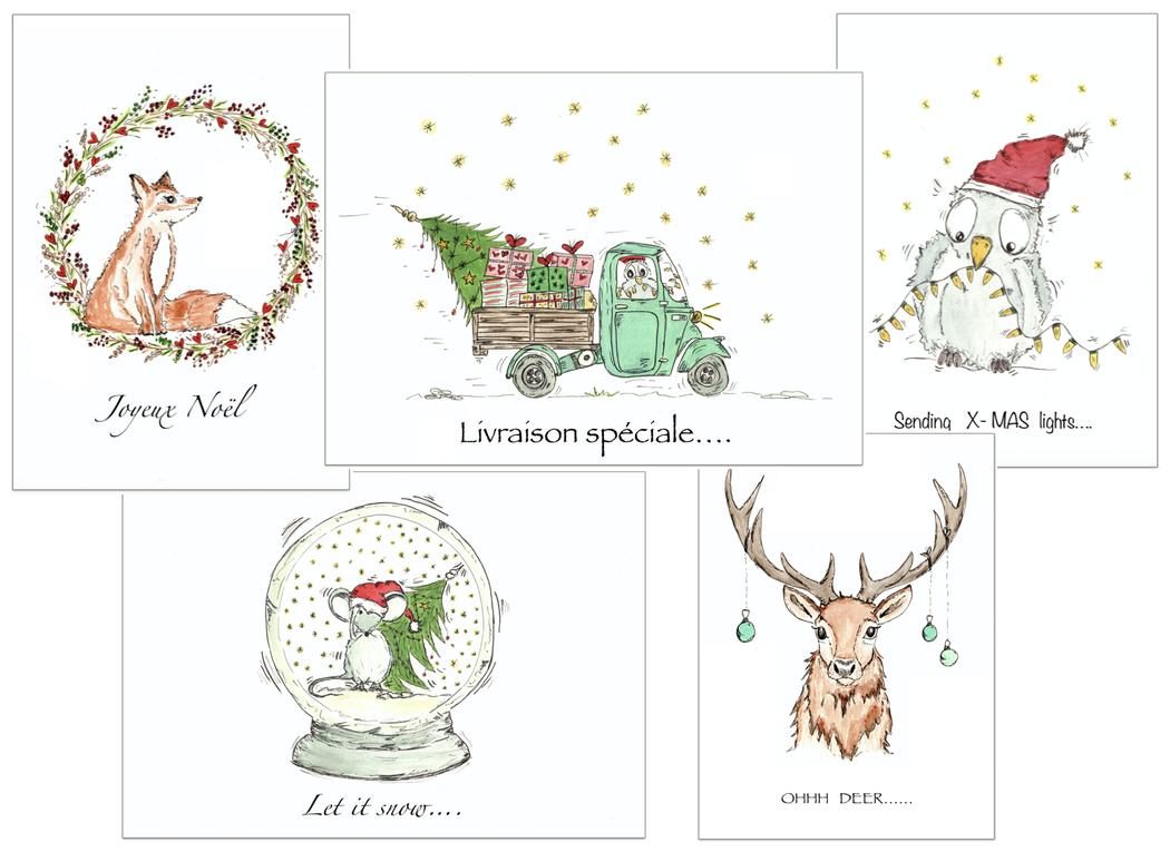 Kerstkaart  x-mas  christmas card Bosdieren