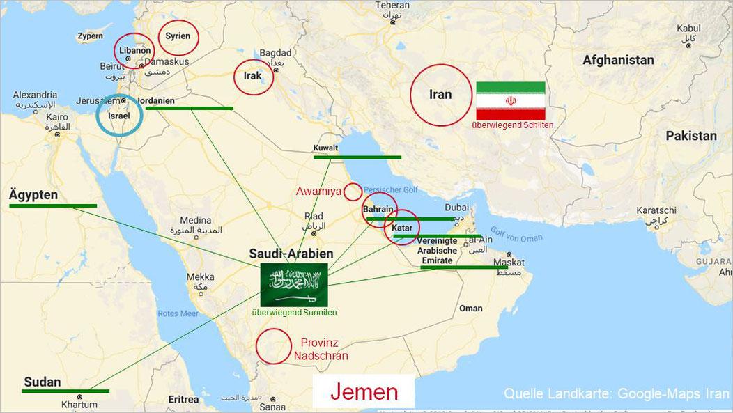 Der Jemen, Spielball zwischen aufstrebenden regionalen Großmächten von Saudi Arabien und seinen Verbündeten sowie Iran und seine Verbündeten. Katar und Bahrein sind aufgrund letzter Spannungen mit Saudi Arabien derzeit unentschlossen, was den Iran angeht.