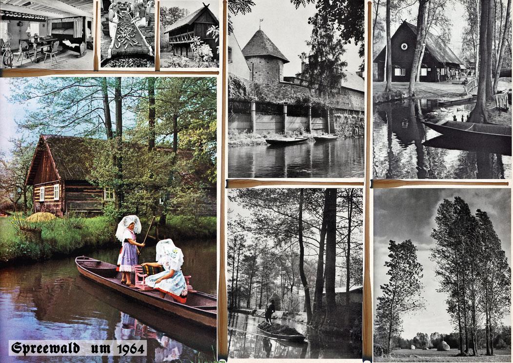 Spreewald um 1964; Landwirtschaft und Tourismus existierten gleichberechtigt nebeneinander.