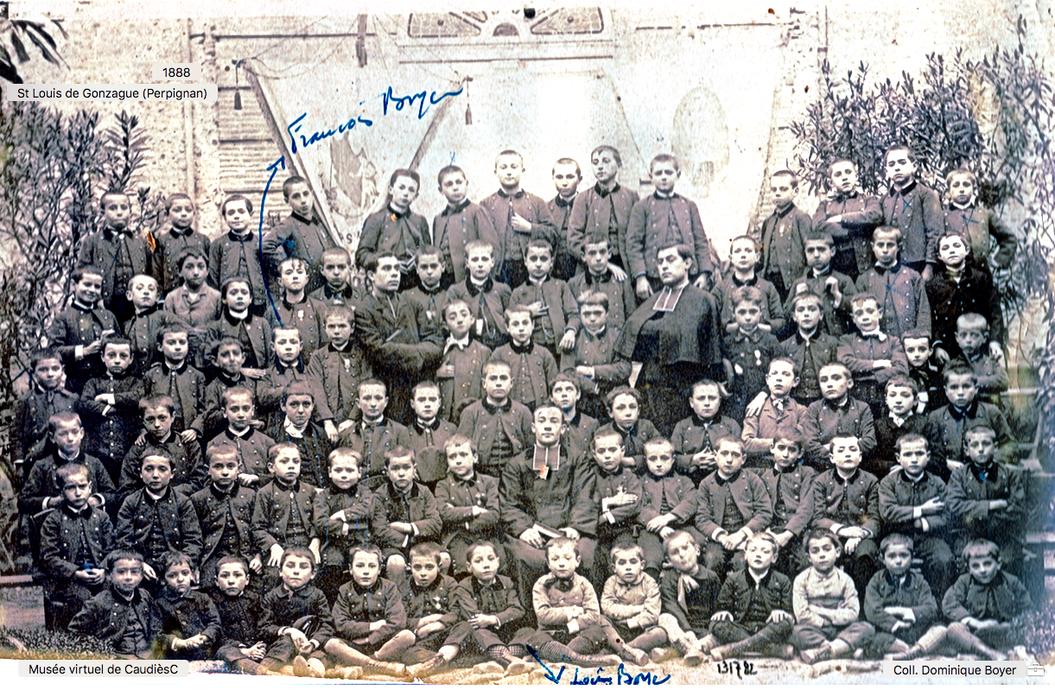François et Louis Boyer à l'institution St Louis de Gonzague (Perpignan) en 1888