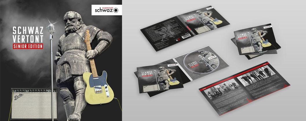 Layout vom CD-Cover, Booklet und CD von Schwaz Vertont, Senior Edition. Alles dreht sich um Jörgl von Schwaz