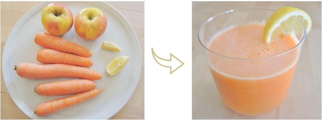 Jus rayon de soleil - carottes - pommes - citron - gingembre - cru - végétalien - Kapha