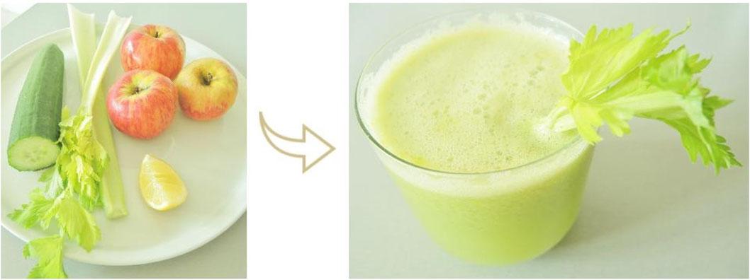 Jus vert éclat jeunesse - concombre - céleri - pomme - citron - Végétalien - cru - Pitta - Kapha