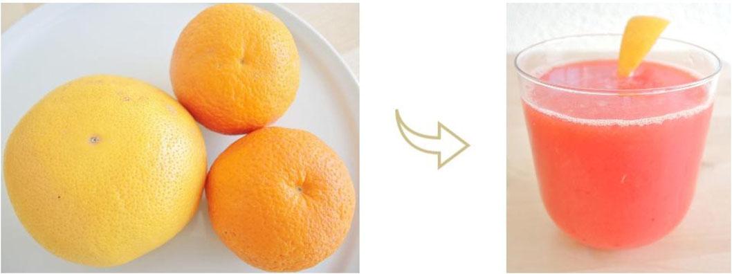 jus tonique et diurétique - orange - pamplemousse - végétalien - jus - cru - vata