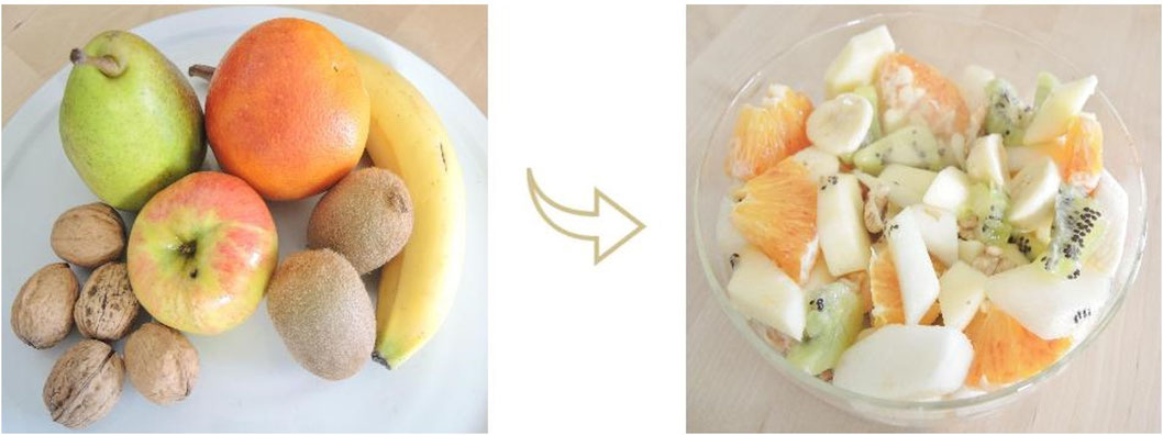 salade de fruits éveil - kiwi - pomme - orange - poire - noix - végétalien - cru - petit-déjeuner - Vata - Kapha - Pitta