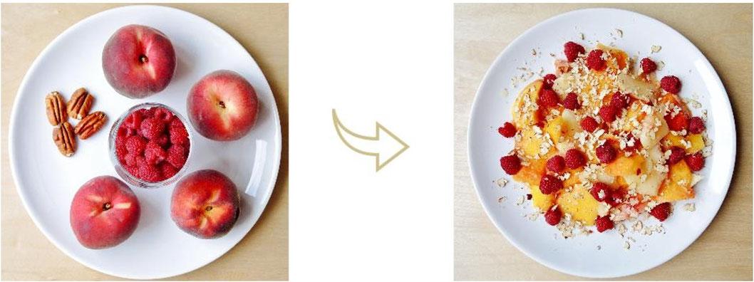 Salade estivale rafraîchissante - pêches - framboise - noix de pécan - petit-déjeuner - cru - végétalien