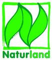 Logo Naturland mit 3 stilisierten grünen Blättern
