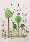 Bäume mit Piepmätzen Postkarte, glänzend, Illustration von silvanillion