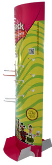 Ellipsensäule Faltsäule aus Pappe Pappsäule Werbesäule Pop-up oval POS Säule Pappaufsteller Säulendisplay A4 mit integrierter Spreizmechanik