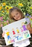 Ein kleines Mädchen vor einem Sonneblumenfeld, sie hält ein selbst gezeichnetes Familienbild vor sich mit den Händen.