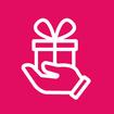 Ein Icon einer Hand, auf der ein Geschenkpaket liegt wird dargestellt