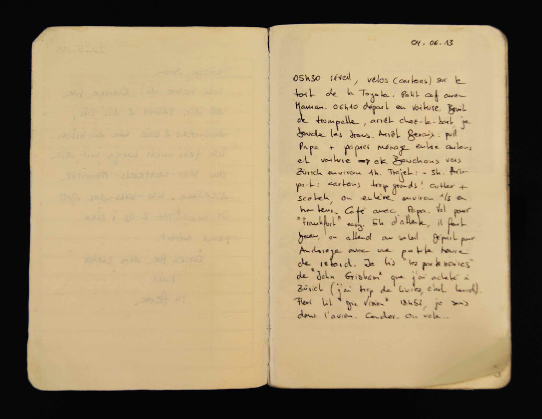 04 juin 2013, départ, jour 1. Extrait de mon livre de route (offert le 22.05.13 par Flurina).