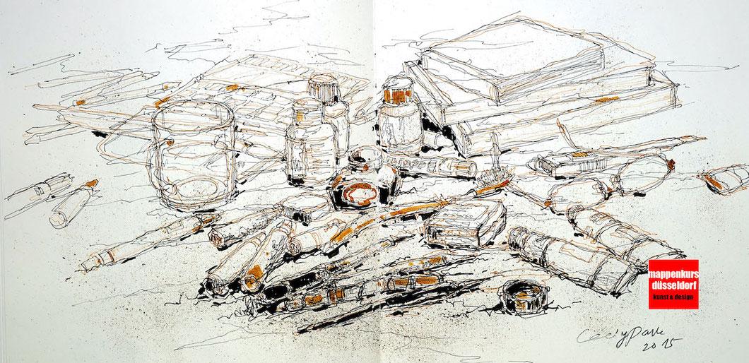 Freihandzeichnen, Zeichnen mit Tuschen, Zeichenkurs für die Fortgeschrittenen und künstklerische Gestaltung