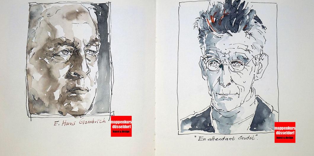 Portrait zeichnen malen, Portrait malen für Fortgeschrittene, Mappenkurs Düsseldorf