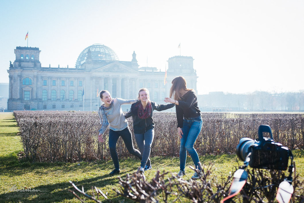 Politics can be fun - girls playing in front of German Bundestag